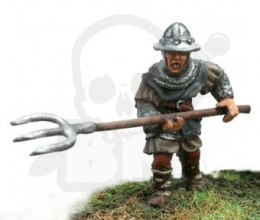 Brave Heart Scottish infantryman with iron hat and pitchfork, attacking - 1 pc.