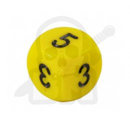 Kość 2-3-3-4-4-5 Yellow/black - kostki kostka K6 16 mm Average Dice Number