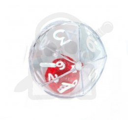 Kostka K10 w kostce K10 Double Dice d10 Clear Shell w/Internal Translucent Red/white d10