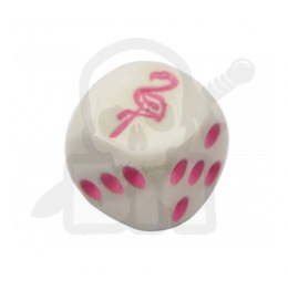 Kostka kość K6 Flaming 16 mm Flamingo White Dice