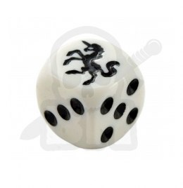 Kostka kość K6 jednorożec 16 mm Unicorn White Dice