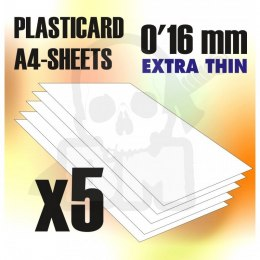 ABS Plasticard A4 - 0,16 mm COMBOx5 sheets