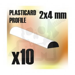 ABS Plasticard - Profile SEMICIRCLE 2x4mm x10
