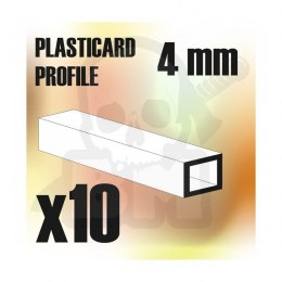 ABS Plasticard - profile SQUARED TUBE 4mm x10
