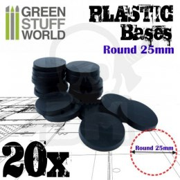 Plastic Bases - Round 25mm Black x20