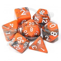 Set of 7 RPG dice 2Color - Orange/Silver d4 6 8 10 12 20 i 00-90