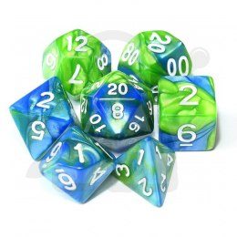 Set of 7 RPG dice 2Color - Blue/Green d4 6 8 10 12 20 i 00-90