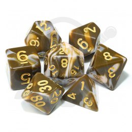 Set of 7 RPG dice 2Color - Coffee/White d4 6 8 10 12 20 i 00-90