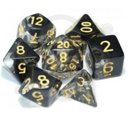 Set of 7 RPG dice Cloudy - Black/White d4 6 8 10 12 20 i 00-90