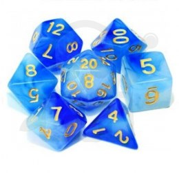 Set of 7 RPG dice Cloudy - Blue/White d4 6 8 10 12 20 i 00-90