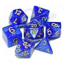 Set of 7 RPG dice Pearl - Blue/gold d4 6 8 10 12 20 i 00-90