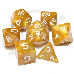 Set of 7 RPG dice Pearl - Gold/white d4 6 8 10 12 20 i 00-90