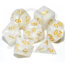 Set of 7 RPG dice Pearl - White/gold d4 6 8 10 12 20 i 00-90