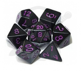Set of 7 RPG dice Opaque - Black/Purple K4 6 8 10 12 20 i 00-90