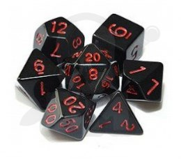 Set of 7 RPG dice Opaque - Black/Red K4 6 8 10 12 20 i 00-90