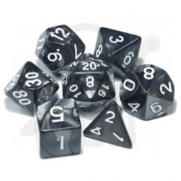 Set of 7 RPG dice Pearl - Black/white d4 6 8 10 12 20 i 00-90