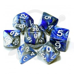 Set of 7 RPG dice 2Color - Blue/Silver d4 6 8 10 12 20 i 00-90