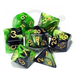 Set of 7 RPG dice 2Color - Green/Black d4 6 8 10 12 20 i 00-90