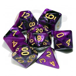 Set of 7 RPG dice 2Color - Purple/Black d4 6 8 10 12 20 i 00-90