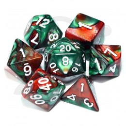 Set of 7 RPG dice 2Color - Red/Green d4 6 8 10 12 20 i 00-90