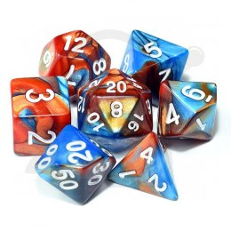 Set of 7 RPG dice 2Color - Turquoise/Copper d4 6 8 10 12 20 i 00-90