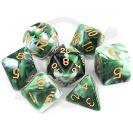 Set of 7 RPG dice Marble Green d4 6 8 10 12 20 i 00-90