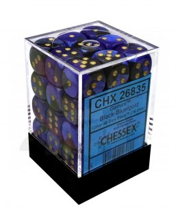 Kostki Chessex K6 12mm Gemini Black-Blue w/gold 36szt.