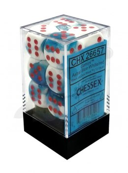 Kostki Chessex K6 16mm gemini spot Astral Blue-White w/red 12szt. + pudełko