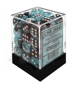 Kostki Chessex K6 12mm Gemini Black-Shell w/white 36szt.