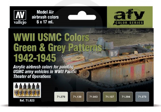 Vallejo 71623 Zestaw Model Air 6 farb - WWII USMC Green & Grey Patterns 1942-1945